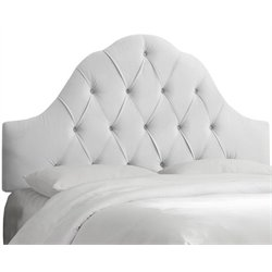 MER-1396 Upholstered Tufted Panel Headboard in White 2