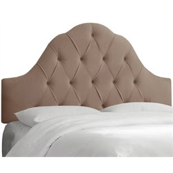 MER-1396 Upholstered Tufted Panel Headboard in Brown 1