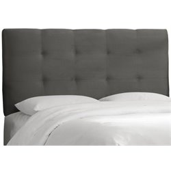 MER-1396 Upholstered Tufted Panel Headboard in Charcoal