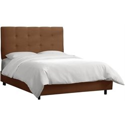 MER-1396 Upholstered Tufted Panel Bed in Chocolate