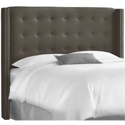 MER-1396 Upholstered Tufted Panel Headboard in Cindersmoke