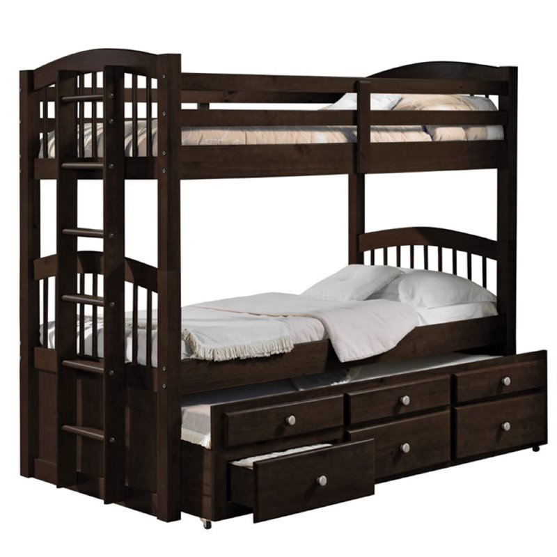 Pemberly Row Twin over Twin Storage Bunk Bed with Trundle in Espresso