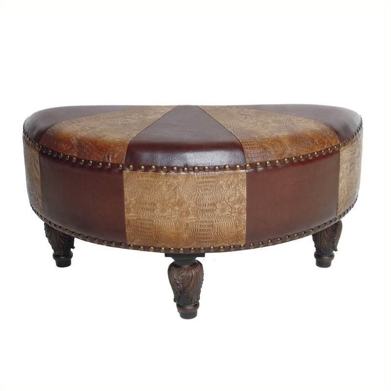 Pemberly Row Faux Leather Ottoman in Mix Pattern