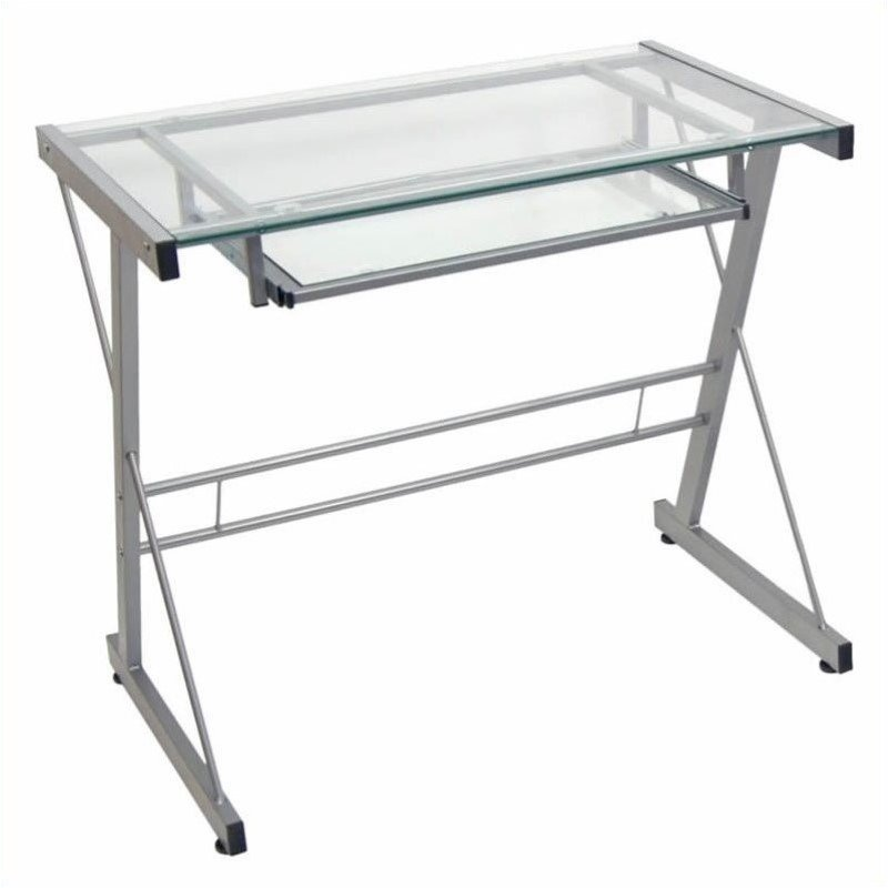 Pemberly Row Small Gl Top Computer Desk In Silver