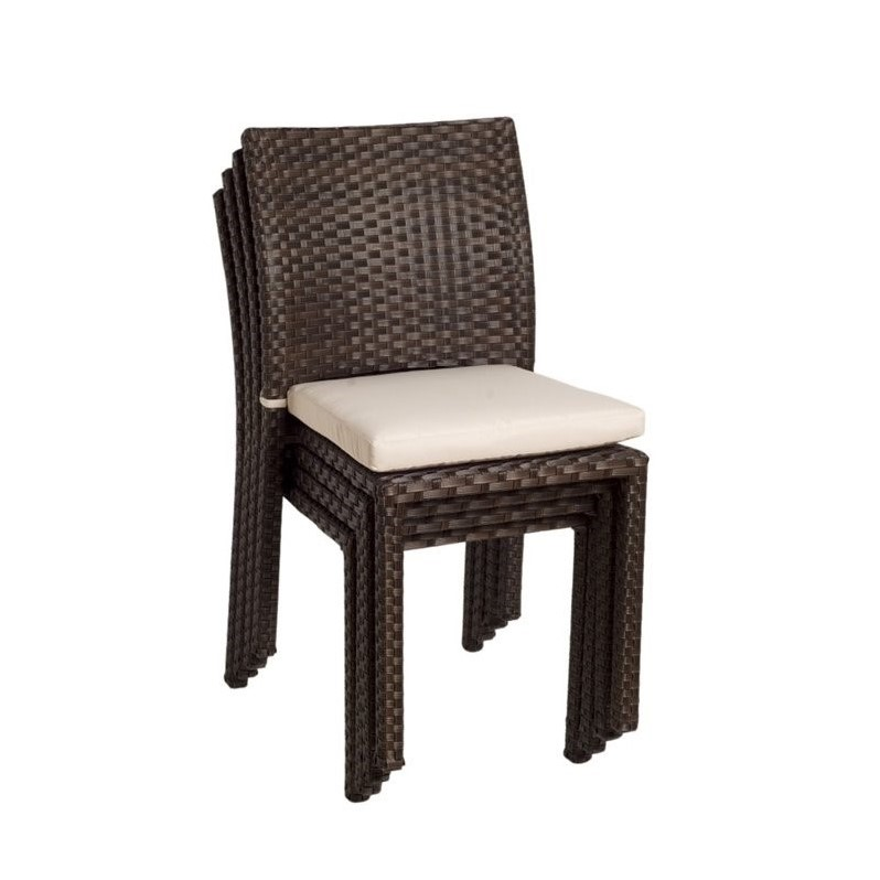 Pemberly Row 4 Piece Patio Dining Chair in Dark Brown