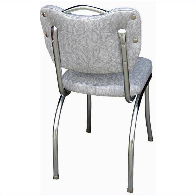 Pemberly Row Retro Kitchen Dining Chair in Cracked Ice Grey