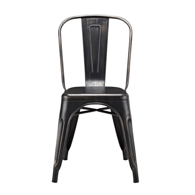 Pemberly Row Metal Cafe Chair in Antique Black