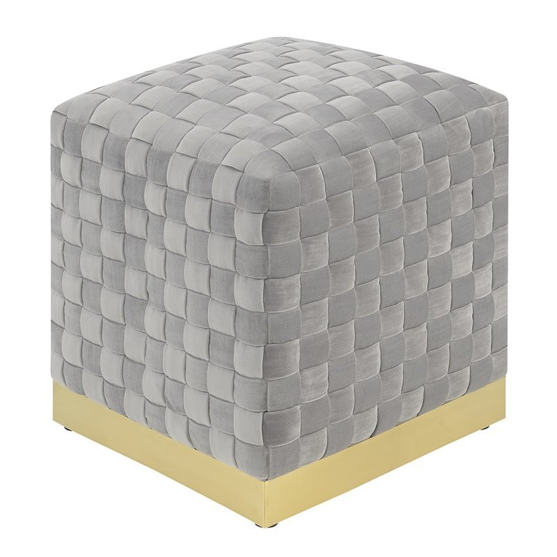 Pemberly Row Monte Gray and Brass Square Ottoman