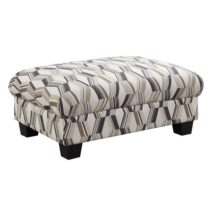 Pemberly Row Albert Geometric Sandstone Ottoman with Fixed Cushion