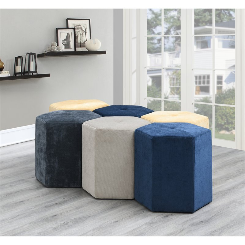 Pemberly Row Aurora Geo Canary Ottoman with Velvet Like Upholstery