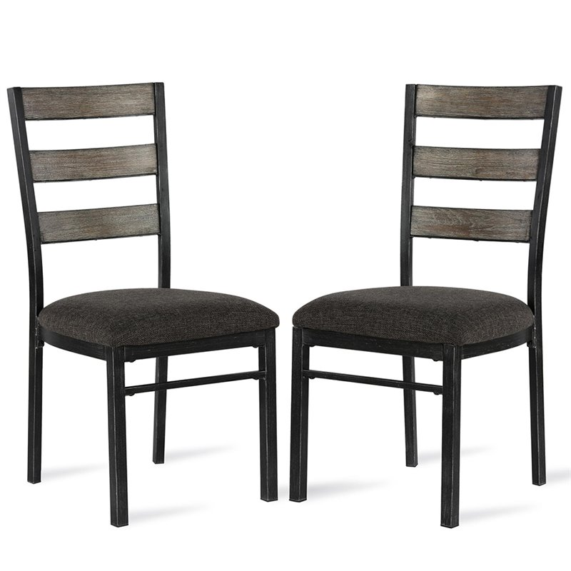 Pemberly Row Ladderback Dining Side Chair in Gray (Set of 2)