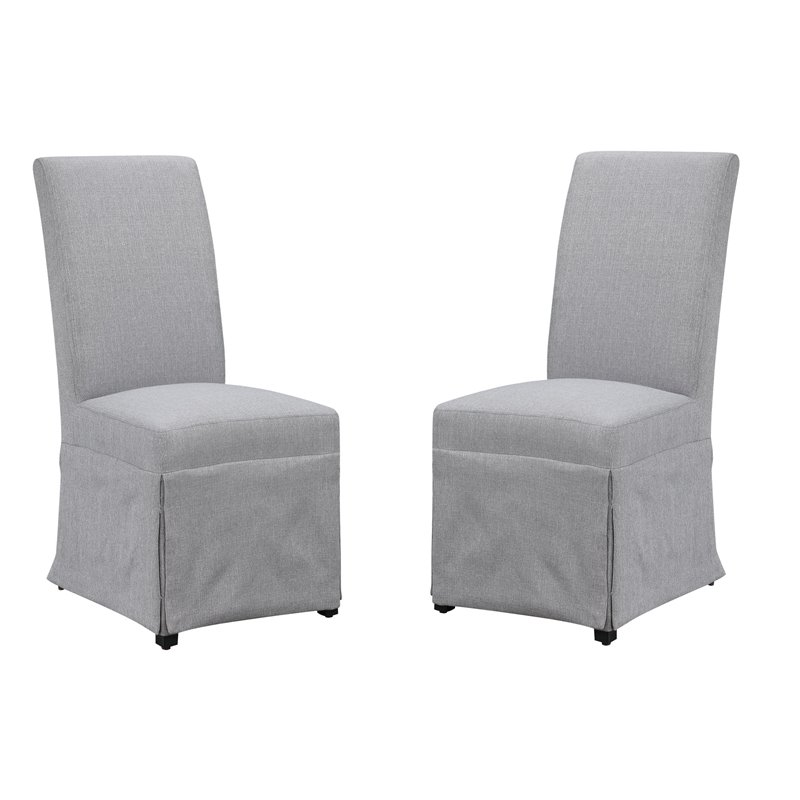 Pemberly Row Upholstered Dining Chair in Gray (Set of Two)