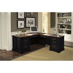 Beaumont Lane Workstation in Antique Black/Burnished Cherry