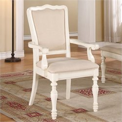 Beaumont Lane Upholstered Arm Dining Chair in Honeysuckle White