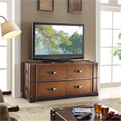 Beaumont Lane Steamer Trunk TV Console in Aged Cognac Wood