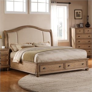 Beaumont Lane Queen Upholstered Storage Sleigh Bed in Driftwood