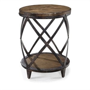 Beaumont Lane Round Accent Table in Distressed Pine