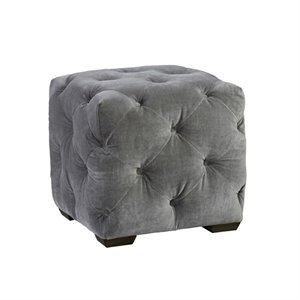Beaumont Lane Velvet Tufted Cube Ottoman in Gray