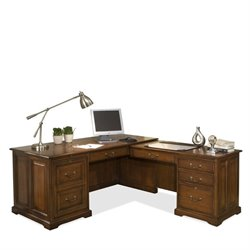 Beaumont Lane L Desk in Burnished Cherry