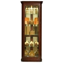 Beaumont Lane 5 Shelf Corner Curio Cabinet in Victorian Cherry