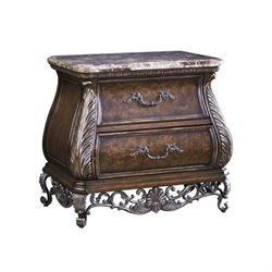 Beaumont Lane 2 Drawer Stone Top Nightstand in Lush Mocha