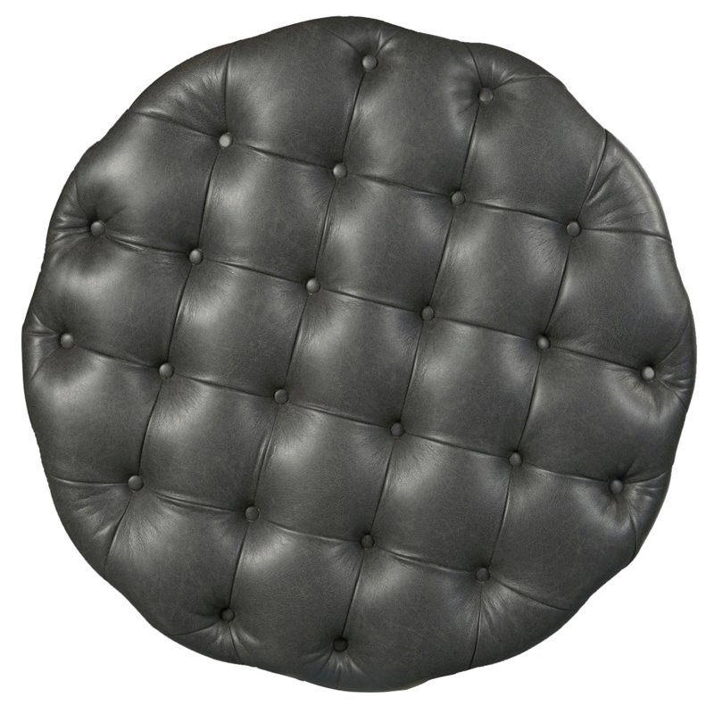 Beaumont Lane Round Tufted Cocktail Ottoman in Steel Gray