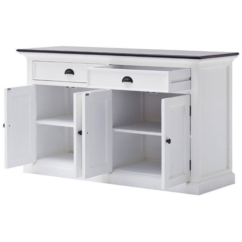 Beaumont Lane Pure White Wood Sideboard Dining Buffet With Black Top - Assembled
