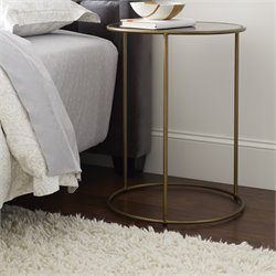 Tommy Hilfiger Xylona Glass Top End Table in Smoke