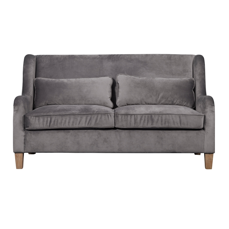 Tommy Hilfiger Two Toned Wingback Sofa French Gray Velvet And Linen