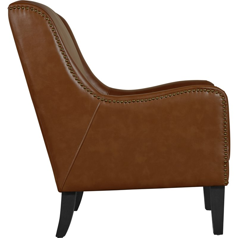 Pleasant Tommy Hilfiger Andover Leather Accent Chair Cognac Brown Ibusinesslaw Wood Chair Design Ideas Ibusinesslaworg