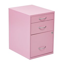 Scranton & Co 3 Drawer Metal File Cabinet in Pink