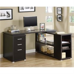 Scranton & Co Adjustable L-Shaped Computer Desk in Cappuccino