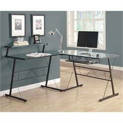 Scranton and Co Glass Top Metal L Shaped Computer Desk in Black