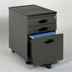 Scranton & Co 3 Drawer Metal Mobile File Cabinet in Pewter and Black