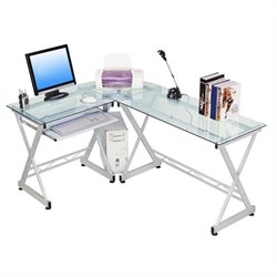 Scranton and Co Glass Top L-Shaped Computer Desk