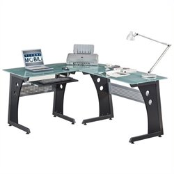 Scranton and Co Frosted Glass Top L-Shaped Computer Desk in Graphite