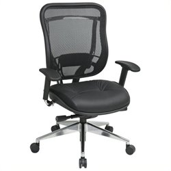 Scranton and Co Leather High Back Office Chair in Black Gunmetal