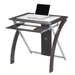 Scranton & Co Computer Desk with Silver Accents in Espresso