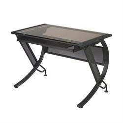 Scranton and Co Bronze Glass Top Desk with Keyboard Tray in Black