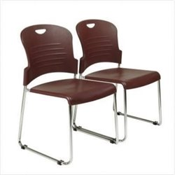 Scranton and Co Stacking Chair with Sled Base in Burgundy (Set of 2)