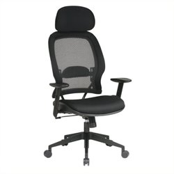 Scranton & Co Grid Mesh Back Office Chair with Headrest in Black