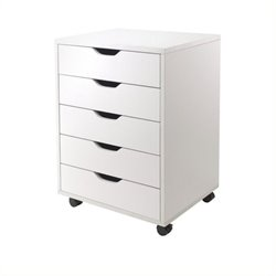 Scranton and Co 5 Drawer Wood Mobile File Cabinet in White