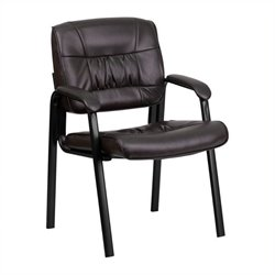 Scranton & Co Leather Guest Chair with Black Frame in Brown