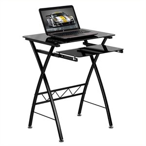 Scranton & Co Tempered Glass Top Computer Desk in Black