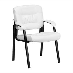 Scranton & Co Leather Guest Chair with Black Frame in White