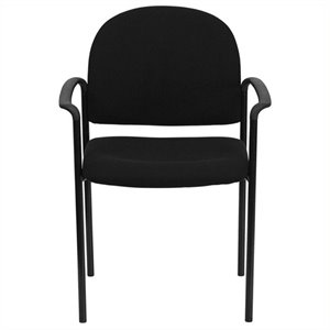 Scranton & Co Stackable Side Guest Chair in Black with Arms