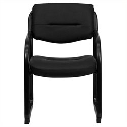 Scranton & Co Leather Executive Side Guest Chair in Black
