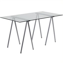 Scranton & Co Glass Top Computer Desk with Silver Frame