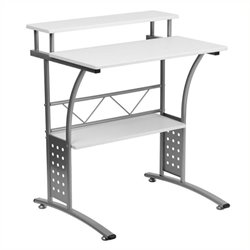 Scranton & Co Computer Desk with Silver Frame in White