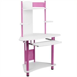 Scranton & Co Corner Computer Desk with Hutch in Pink